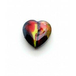 Perle en verre coeur à facettes 16 mm rouge et jaune x 1