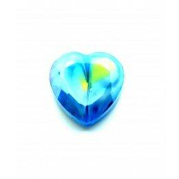 Perle en verre coeur à facettes 16 mm bleu x 1