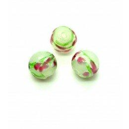 Perle fleurie ronde baroque 10 mm vert anis x 1