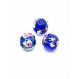 Perle fleurie ronde baroque 10 mm bleu marine x 1