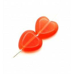 Perle coeur Oeil de chat 11,5 mm orange x 2
