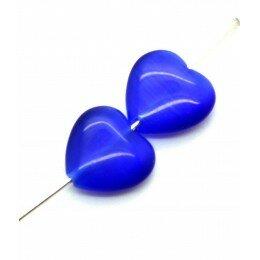 Perle coeur Oeil de chat 11,5 mm bleu marine x 2