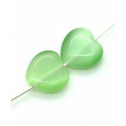 Perle coeur Oeil de chat 11,5 mm vert clair x 2