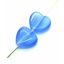 Perle coeur Oeil de chat 11,5 mm bleu x 2