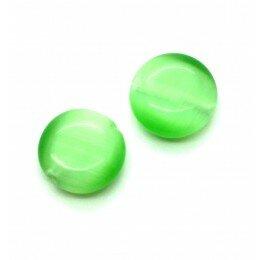 Perle bombée Oeil de chat 12 mm vert clair x 4