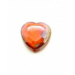 Perle en verre coeur à facettes 16 mm orange x 1