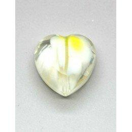 Perle en verre coeur à facettes 16 mm blanc x 1