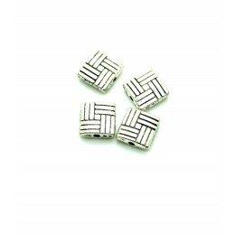 Perle carrée plate métal 8mm argenté vieilli x 10