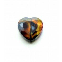 Perle en verre coeur à facettes 16 mm violet et orange x 1