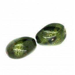 Olive en céramique 20x14 mm kaki x 2