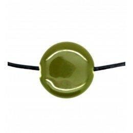 Perle ronde et plate en céramique 20x6 mm kaki x 2