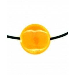 Perle ronde et plate en céramique 20x6 mm orange x 2