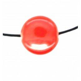 Perle ronde et plate en céramique 20x6 mm rouge x 2