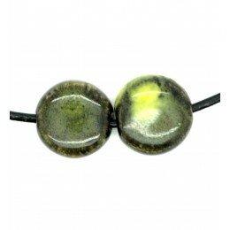 Palet en céramique 14x7 mm vert foncé et jaune x 4