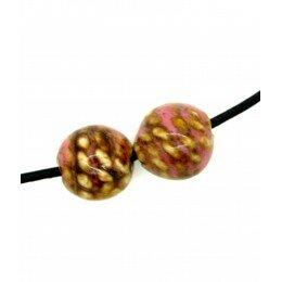 Ronde en céramique 12 mm marron et rose x 4