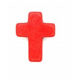 Perle croix en howlite 16x12mm rouge orangé x 3