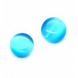 Perle bombée Oeil de chat 14 mm bleu lagon x 2