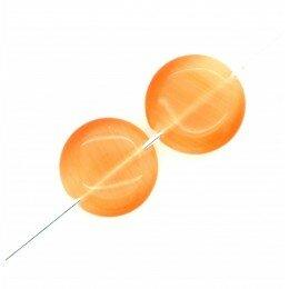 Perle bombée Oeil de chat 14 mm orange x 2