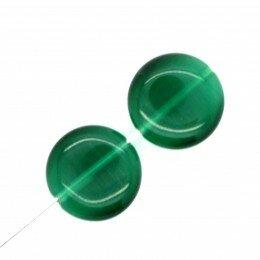 Perle bombée Oeil de chat 14 mm vert bouteille x 2