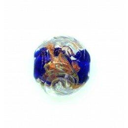 Perle ronde verre sérigraphiée 13 mm bleu marine x 1