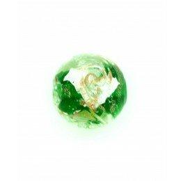 Perle ronde verre sérigraphiée 13 mm verte x 1