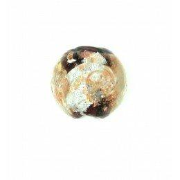 Perle ronde verre sérigraphiée 13 mm violette x 1