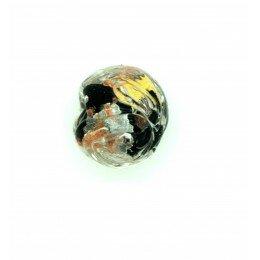 Perle ronde verre sérigraphiée 13 mm noir x 1