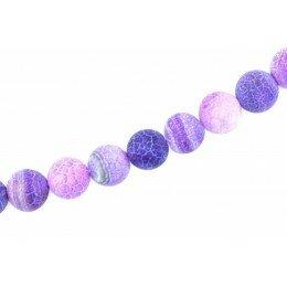 Perle ronde agate givrée violette 8 mm x 5