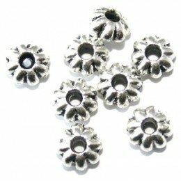 Perle métal intercalaire 5x2 mm argenté vieilli x 30