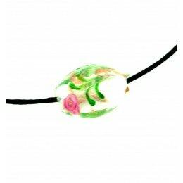 Perle Olive décorée 16x11 mm blanc x 2