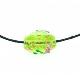 Perle Olive décorée 16x11 mm verte x 2