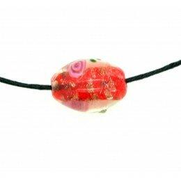 Perle Olive décorée 16x11 mm rouge x 2