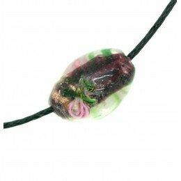 Perle Olive décorée 16x11 mm couleur améthyste x 2
