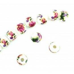 Perle ronde en porcelaine 6 mm Blanc/améthyste x 4
