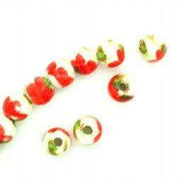 Perle ronde en porcelaine 6 mm Blanc/rouge x 4