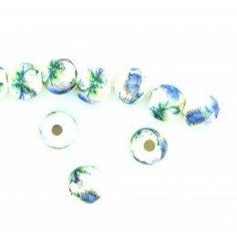 Perle ronde en porcelaine 6 mm Blanc/bleu x 4