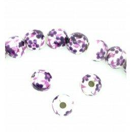 Perle ronde en porcelaine 6 mm Blanc/violet x 4