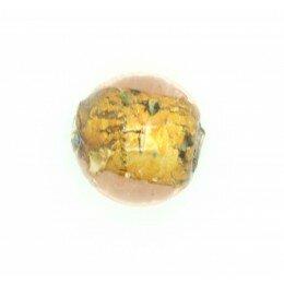 Perle ronde verre 12 mm feuille dorée x 2