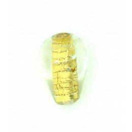 Perle goutte feuille dorée 11x15 mm x 2