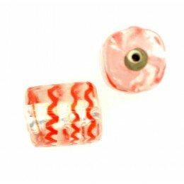Cylindre feuille d'argent striée rouge 14x10 mm x 1