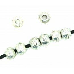 Perle ronde métal 7x5mm argenté x 10