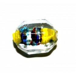 Octogone jaune centre argenté tacheté 14x10 mm x 4