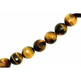 Perle ronde en Œil de tigre à facette 12mm x 1 grade A