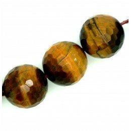 Perle ronde en Œil de tigre à facette 14 mm x 1 grade A