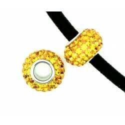 Perle européenne cristal et cœur d'argent fuchsia 11 mm x 1