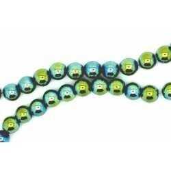Perle Hématite multicolor bleu vert jaune 6 mm x 20