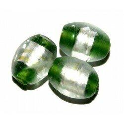 Olive verte centre argent 12x10 mm x 4