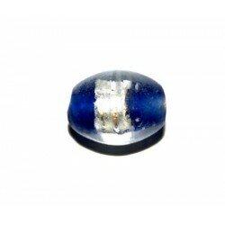 Olive bleu marine centre argent 12x10 mm x 4