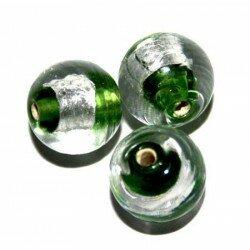 Ronde verte centre argent 10 mm x 4