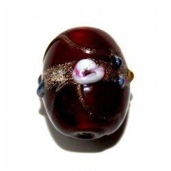 Olive décorée 19x16 mm rouge x 1